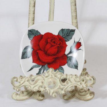 Arabia Rosa koristelautanen, Rosa baccara, suunnittelija Esteri Tomula, Rosa baccara, pieni, serikuva