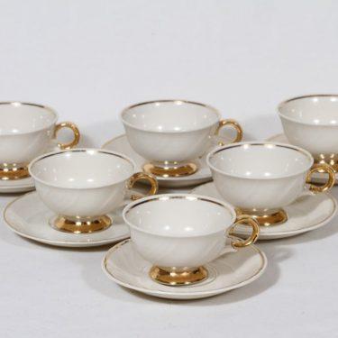 Arabia Kultakoriste mokkakupit, 6 kpl, suunnittelija Olga Osol, kullattu