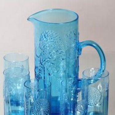 Nuutajärvi Flora kaadin ja lasit, turkoosi, 5 kpl, suunnittelija Oiva Toikka,