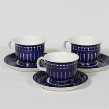 Arabia Valencia kahvikupit, 16 cl, 3 kpl, suunnittelija Ulla Procope, 16 cl, käsinmaalattu, signeerattu