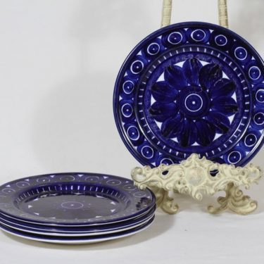 Arabia Valencia lautaset, pieni, 5 kpl, suunnittelija Ulla Procope, pieni, käsinmaalattu, signeerattu