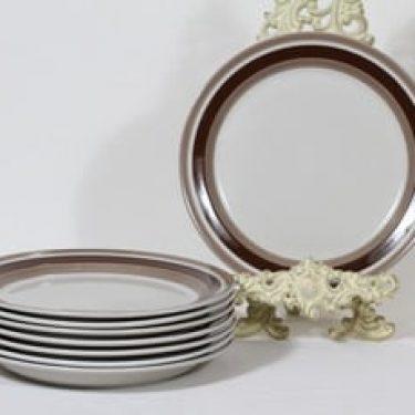 Arabia Pirtti lautaset, matala, 8 kpl, suunnittelija Raija Uosikkinen, matala, raitakoriste