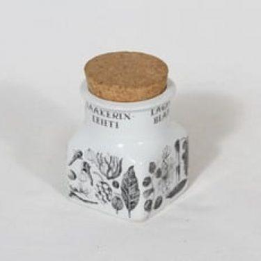 Arabia maustekuvio maustepurkki, laakerinlehti, suunnittelija Esteri Tomula, laakerinlehti