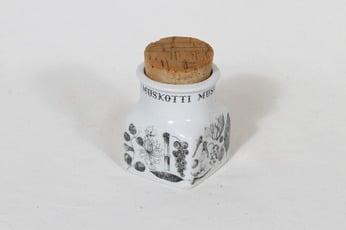 Arabia maustekuvio maustepurkki, muskotti, suunnittelija Esteri Tomula, muskotti