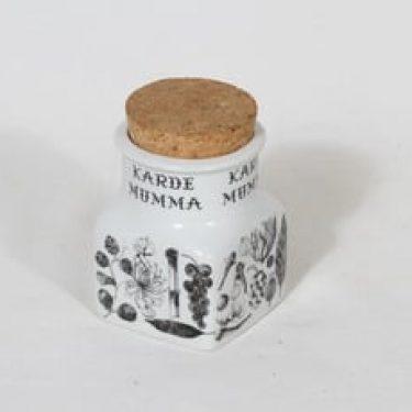 Arabia maustekuvio maustepurkki, kardemumma, suunnittelija Esteri Tomula, kardemumma, serikuva