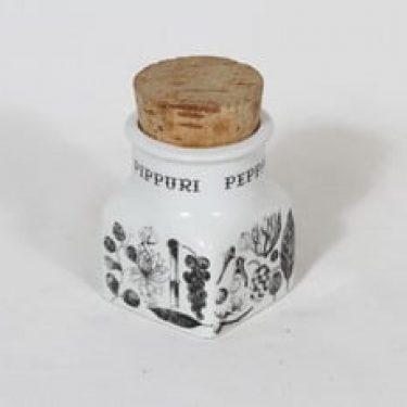 Arabia maustekuvio maustepurkki, pippuri, suunnittelija Esteri Tomula, pippuri