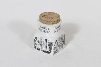 Arabia maustekuvio maustepurkki, kardemumma, suunnittelija Esteri Tomula, kardemumma