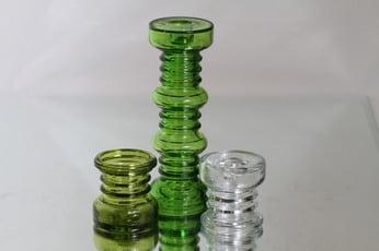 Riihimäen lasi Carmen kääntömaljakot, eri värejä, 3 kpl, suunnittelija Tamara Aladin,