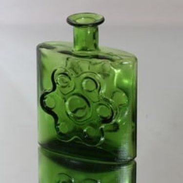Riihimäen lasi Paukkurauta koristepullo, vihreä, suunnittelija Erkkitapio Siiroinen,