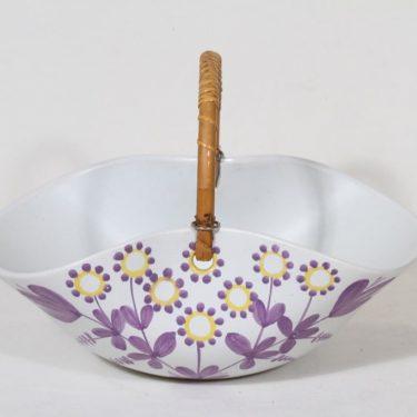 Kupittaan savi keramiikkakori, käsinmaalattu, suunnittelija Viljo Mäkinen, käsinmaalattu, signeerattu