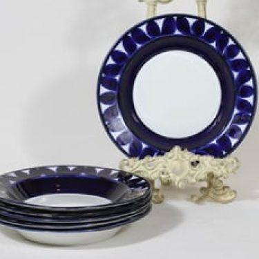 Arabia Sotka lautaset, syvä, 6 kpl, suunnittelija Raija Uosikkinen, syvä, käsinmaalattu