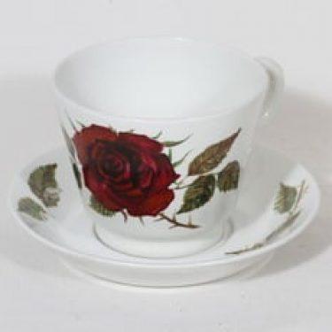 Arabia Ruusu kuppi ja lautanen, suunnittelija Anneli Qveflander, suuri, serikuva