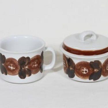 Arabia Rosmarin sokerikko ja kermakko, käsinmaalattu, suunnittelija Ulla Procope, käsinmaalattu, signeerattu