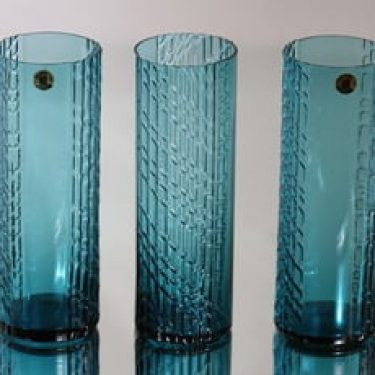 Riihimäen lasi Flindari lasit, sininen, 3 kpl, suunnittelija Nanny Still,