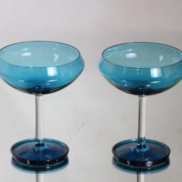Riihimäen lasi Harlekiini annoskulhot, sininen, 2 kpl, suunnittelija Nanny Still,