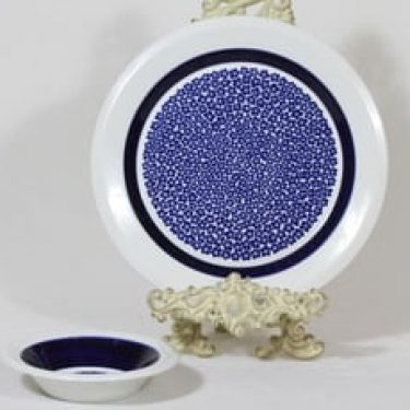 Arabia Faenza vati ja kulho, sininen, suunnittelija Inkeri Seppälä, serikuva, retro
