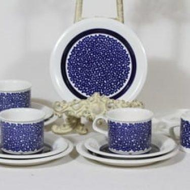 Arabia Faenza kahvikupit ja lautaset, sininen, 4 kpl, suunnittelija Inkeri Seppälä, serikuva, retro