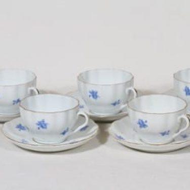 Arabia S 42 kahvikupit, sininen, 5 kpl, suunnittelija Greta-Lisa Jäderholm-Snellman, serikuva
