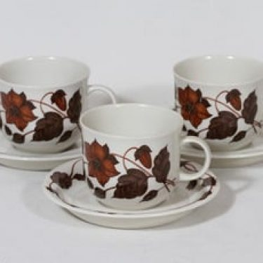 Arabia Tea for Two teekupit, 3 kpl, suunnittelija Gunvor Olin-Grönqvist, serikuva