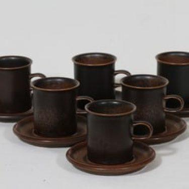 Arabia Ruska kahvikupit, ruskea, 6 kpl, suunnittelija Ulla Procope,