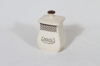 Arabia EG 1 maustepippuripurkki, tekstikuvio, suunnittelija , tekstikuvio, pieni, tekstikoriste
