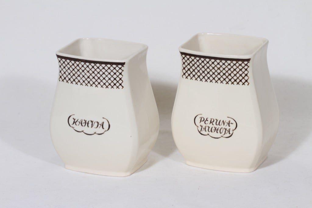Arabia EG 2 jauhopurkki, tekstikuvio, 2 kpl, suunnittelija , tekstikuvio, tekstikoriste