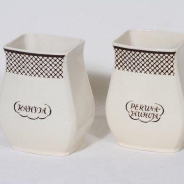 Arabia EG 2 flour jar, text design, 2 pcs