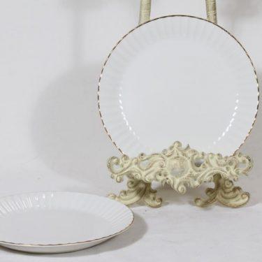 Arabia Kultakorva leivoslautaset, valkoinen, 2 kpl, suunnittelija , kultakoriste