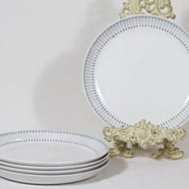 Arabia Heini lautaset, matala, 5 kpl, suunnittelija Raija Uosikkinen, matala, kuparipainokoriste