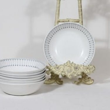 Arabia Heini lautaset, syvä, 7 kpl, suunnittelija Raija Uosikkinen, syvä, kuparipainokoriste