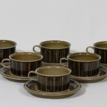 Arabia Kosmos teekupit, 6 kpl, suunnittelija Gunvor Olin-Grönqvist, puhalluskoriste