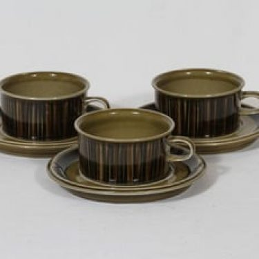 Arabia Kosmos teekupit, 3 kpl, suunnittelija Gunvor Olin-Grönqvist, puhalluskoriste