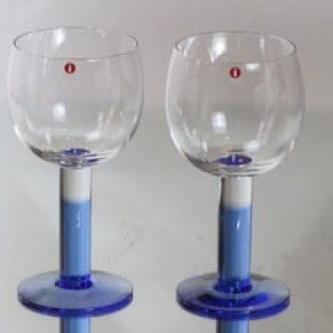 Iittala Mondo lasit, sininen, 2 kpl, suunnittelija Kerttu Nurminen, suuri