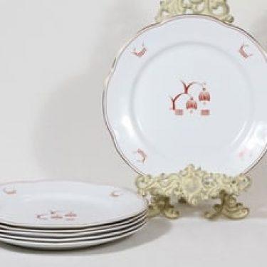 Arabia Terttu lautaset, matala, 6 kpl, suunnittelija , matala, painettu koriste, art deco