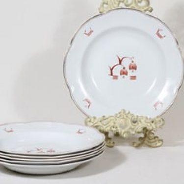 Arabia Terttu lautaset, syvä, 6 kpl, suunnittelija , syvä, painettu koriste, art deco