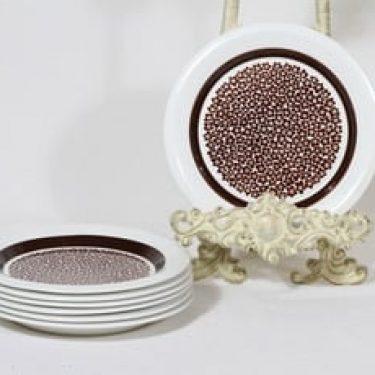 Arabia Faenza lautaset, Ruskeakukka, 7 kpl, suunnittelija Inkeri Seppälä, Ruskeakukka, pieni, serikuva, retro