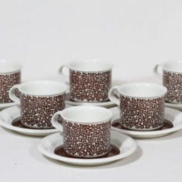 Arabia Faenza kahvikupit, Ruskeakukka, 6 kpl, suunnittelija Inkeri Seppälä, Ruskeakukka, serikuva, retro
