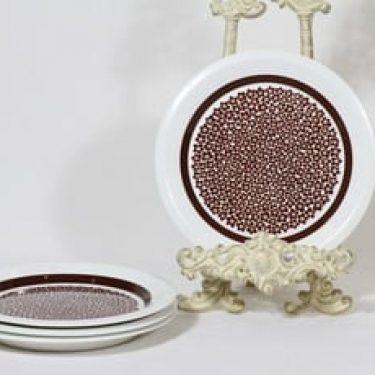 Arabia Faenza lautaset, ruskea, 4 kpl, suunnittelija Inkeri Seppälä, pieni, serikuva, retro