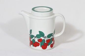 Arabia Kirsikka kahvikaadin, 1 l, suunnittelija Inkeri Seppälä, 1 l, serikuva