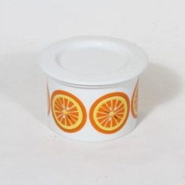Arabia Pomona purnukka, appelsiini, suunnittelija Raija Uosikkinen, appelsiini, pieni, serikuva, retro