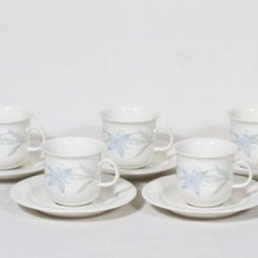 Arabia Arctica kahvikupit, Sinikello, 5 kpl, suunnittelija Esteri Tomula, Sinikello, serikuva