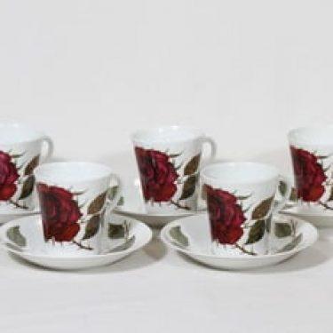Arabia Ruusu kahvikupit, 5 kpl, suunnittelija Anneli Qveflander, serikuva