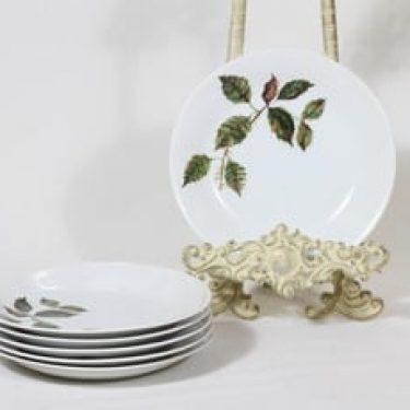 Arabia Ruusu leivoslautaset, 6 kpl, suunnittelija Anneli Qveflander, serikuva