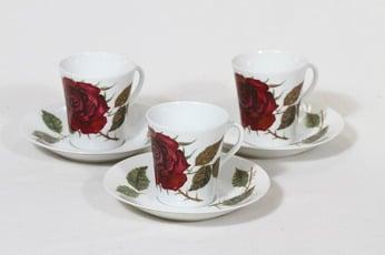 Arabia Ruusu kahvikupit, 3 kpl, suunnittelija Anneli Qveflander, serikuva