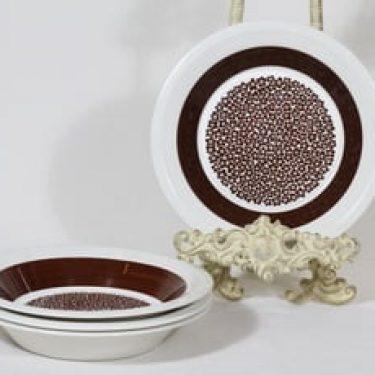 Arabia Faenza lautaset, Ruskeakukka, 4 kpl, suunnittelija Inkeri Seppälä, Ruskeakukka, syvä, serikuvakoriste, retro