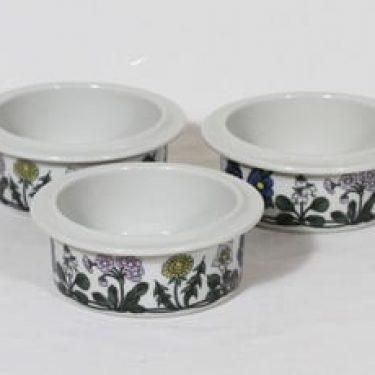 Arabia Flora kulhot, pieni, 3 kpl, suunnittelija Esteri Tomula, pieni, serikuva