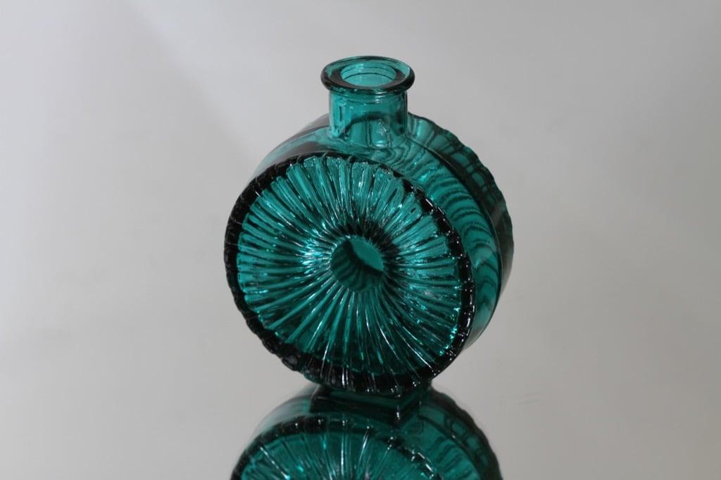 Riihimäen lasi Aurinkopullo koristepullo, turkoosi, suunnittelija Helena Tynell, pieni