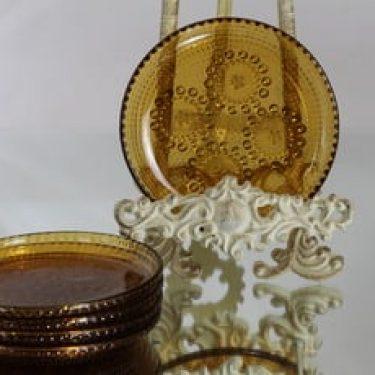Riihimäen lasi Grapponia lautaset, ruskea, 5 kpl, suunnittelija Nanny Still, pieni