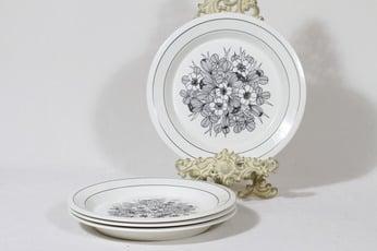 Arabia Krokus lautaset, matala, 4 kpl, suunnittelija Esteri Tomula, matala
