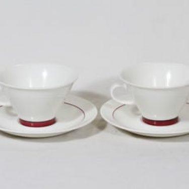 Arabia Harlekin teekupit, Red Hat, 2 kpl, suunnittelija Inkeri Leivo, Red Hat, raitakoriste